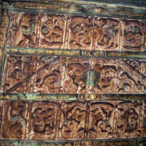Piano nobile - Particolare del soffitto a cassettoni decorati.