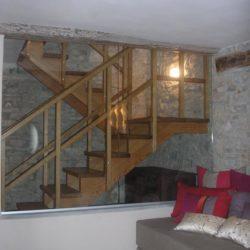 Scala in legno in rovere - Casa privata in Val Tidone.