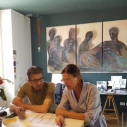 In Studio - Gli architetti Alberto Morini e Luisa Vanzini.